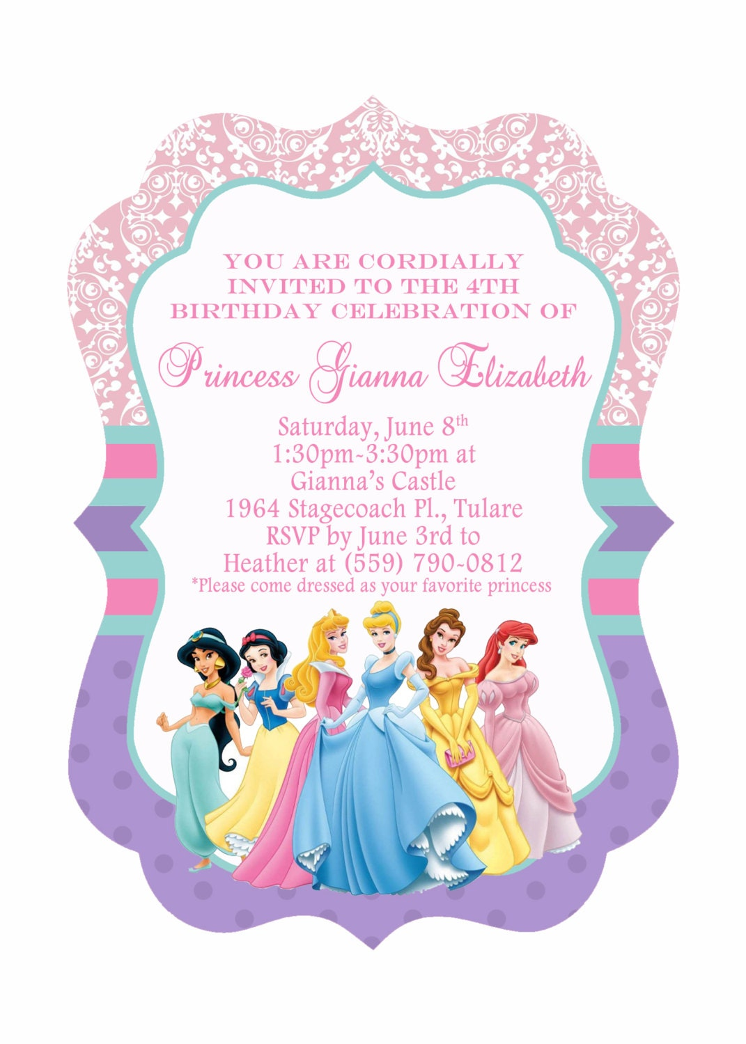 Clever image intended for disney princess birthday invitations free printable