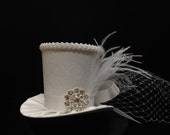 White Victorian Paisley Mini Top Hat for Wedding. Dress Up, Birthday, Tea Party or Photo Prop