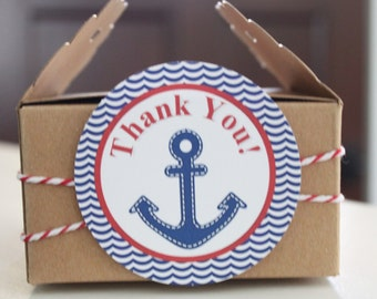 AHOY IT'S A BOY  Baby Shower or Birthday Favor Tags or Stickers 12 {One Dozen} - Party Packs Available
