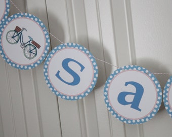 "Vintage Bicycle Themed ""She Said Yes"" Bridal Shower Banner - Party Packs Available"