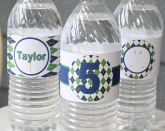 PREPPY ARGYLE GOLF Themed Water Bottle Labels Set of 12 {One Dozen}