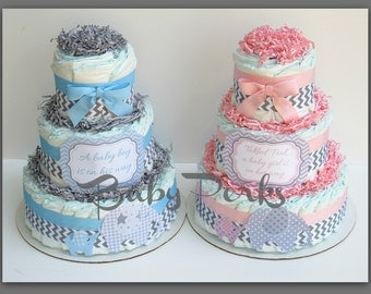 Elephant Diaper Cake for Girls in Pink and Gray , Elephant Theme Baby Shower Centerpiece, Pink and Gray Chevron Baby Shower Diaper Cakes
