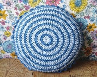 """Mini round blue crochet pillow/ cushion 10"""""""