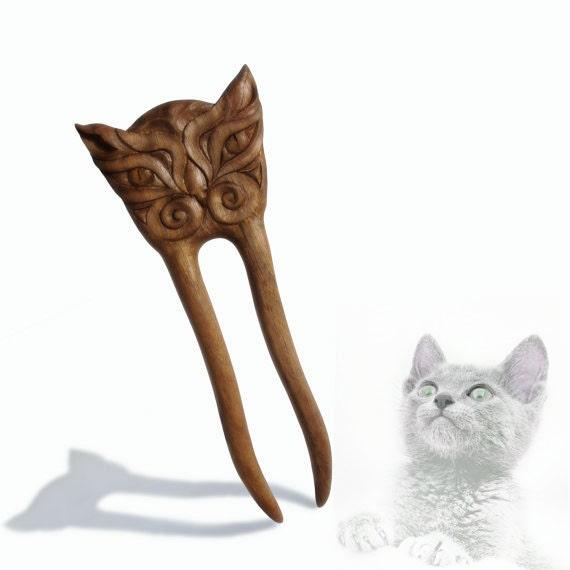 Wooden Hair Fork Hairpin Cat Hair stick Hair styling tool Haarnadel Haare Natural Hair Accessory Handmade by MariyaArts