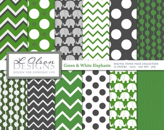 Green, Gray, and White Elephant Paper Pack - 12 digital paper patterns - INSTANT DOWNLOAD