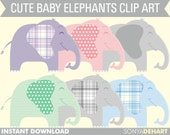80% OFF SALE Clipart Elephants Baby Elephant Instant Download Commercial Use