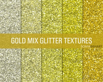 80% OFF Sale Glitter Digital Paper Glitter Textures Printable Paper Pack Gold Mix