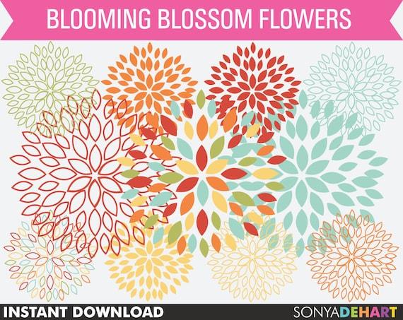 80% OFF Sale Clipart, Dahlia Flowers, Mums Clipart, Clipart Flowers, Clip Art Flowers, Digital Flowers, Scrapbook Flowers, Wedding Clipart