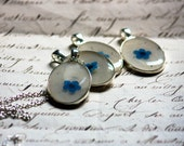bridesmaid necklace set pressed flower handmade blue forget me not jewelry collection pendants bridal wedding