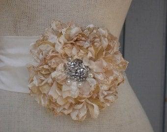 Wedding sash, wedding belt, wedding accessories, bridal belt, champagne  sash, womens sash, wedding gown, flower sash, handmade sash, belt.