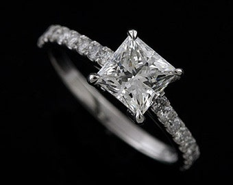 Platinum 950 Cut Down Micro Pave Diamond Princess Cut Engagement Ring Mounting