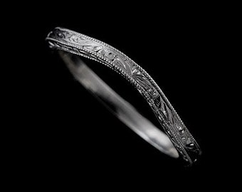 Engraved Platinum Wedding Ring, Curved Wedding Band, Thin 1.6mm Wedding Ring, Contour Band, Vintage Style Band, Antique Style Wedding Ring,
