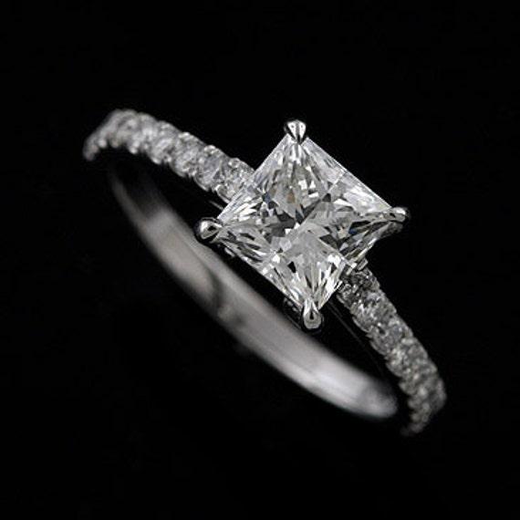 Platinum 950 Cut Down Micro Pave Diamond Princess Cut