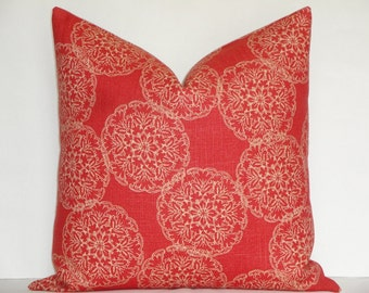Decorative Pillow Cover - Duralee Blockprint - Danda in Saffron - Throw Pillow - Accent Pillow - Coral Red and Tan