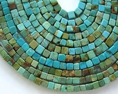 """16"""" Natural Turquoise Cube Bead Blue Green 4MM approx 100 beads"""