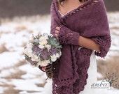 COZY SHAWL and Gloves SET - Custom Order - Crochet Shawl / Wedding Shawl / Bridal Shawl / Crochet Gloves / Rectangular Shawl