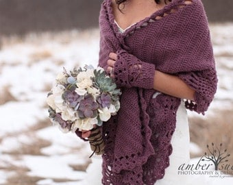 COZY SHAWL and Gloves SET - Custom Order - Crochet Shawl / Wedding Shawl / Bridal Shawl / Crochet Gloves / Rectangular Shawl
