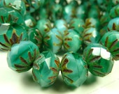 9x6mm Turquoise Green Picasso Czech Glass Beads - 10pcs - Crullers, Etched Pattern, Faceted - BD26