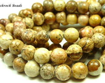 8mm Picture Jasper Natural Gemstone Beads - 15.5 Inch Strand - Brown, Sand, Tan, Swirls, Earth Tones - BC31