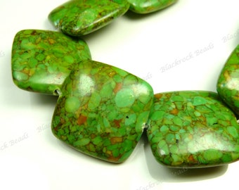 21mm Green Mosaic Turquoise Gemstone Beads - 6pcs - Rounded Edge, Puffed Square, Pillow - BH29
