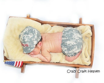 Baby military cap and diaper cover, military cap, Army, navy, marines, airforce