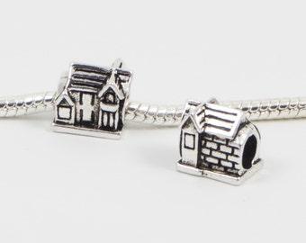 3 Beads - House Cabin Home Silver European Bead Charm E0118