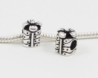 3 Beads - Present Gift Birthday Silver European Bead Charm E0132