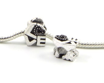 3 Beads - Love Words Heart Silver European Charm Bead E0435