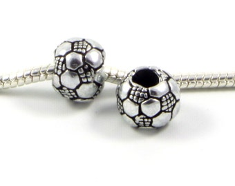 3 Beads - Sports Soccer Ball Football School Silver European Bead Charm E0489