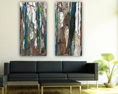 Huge wall art set extra large wall art print blue teal canvas diptych trees abstract artwork bedroom living room modern home decor