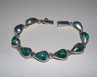 Heavy Malachite and Sterling Silver Bracelet