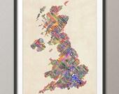 Great Britain UK City Text Map, Art Print (300)