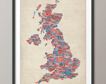 Great Britain UK City Text Map, Art Print (230)