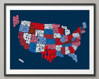 United States Typography Text Map, Art Print (207)
