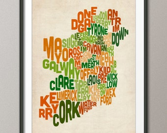 Ireland Eire County Text map, Art Print (222)