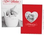 INSTANT DOWNLOAD - Valentine Birth Announcement - Photoshop template - E683