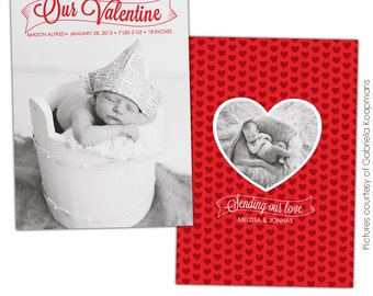INSTANT DOWNLOAD - Valentine Birth Announcement - Photoshop template - E683
