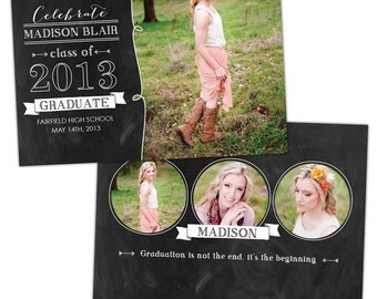 INSTANT DOWNLOAD - Graduation announcement - Photoshop Templates - E785