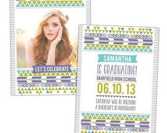 INSTANT DOWNLOAD - Graduation announcement - Photoshop Templates - E844