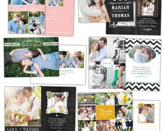 INSTANT DOWNLOAD - Wedding Thank You cards - Photoshop Templates - E846