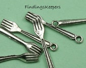 3 Fork charms Antique Silver Tone 25 x 4 mm -  ts166