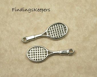 6 Tennis Racket Charms Silver Tone Plastic 28 x 10 mm -  pa79