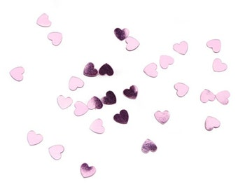 Metallic Pink Wedding Confetti Hearts -- 28 Grams