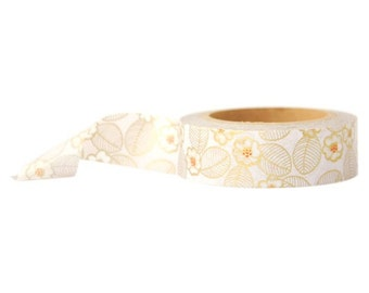 Gold Leaves Floral Washi Tape - 32 Feet Long
