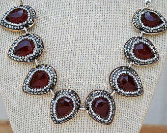 SILVER RUBY JADE runway necklace