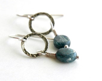 Kyanite Earrings, Sterling silver, Hammered silver, Hoop earrings, Gemstone earrings, Dangle Drop, Semiprecious Jewelry