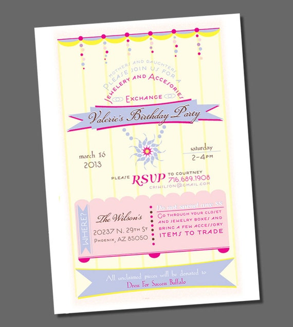 items similar to printable jewelry party invitation, birthday, Party invitations
