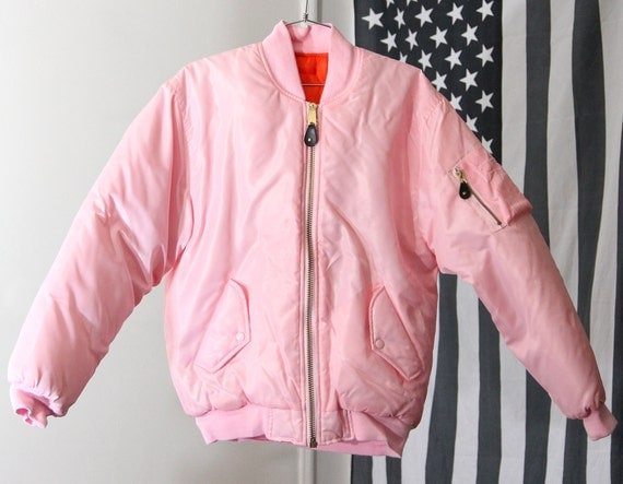 RAD Bubblegum Pink 90s Unisex Flight Jacket Reversible