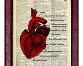 OPEN HEART Dictionary Art Print Mixed Media Art Wall Hangings Poster Wall Decor Heart Art Print Anatomy Print Heart Print