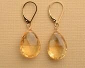 Citrine Earrings, November Birthstone Earrings, Healing Gemstone Jewelry, Large Faceted Citrine Gemstone Earrings